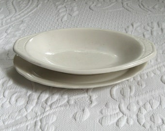 small ironstone platter . ironstone platter . lot of 2 . ironstone soap dish . dinerware . Homer Laughlin