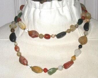 long gem stone necklace . semi precious necklace . 70s long gem necklace . semi precious stones . necklace