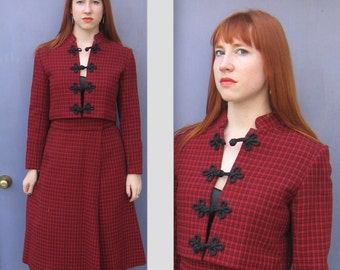 Russian Princess Suit . Red Plaid Suit . High Waisted Skirt . Red Plaid skirt with jacket . Victorian Inspired Suit