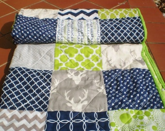 Baby quilt,navy,grey,lime green,Baby boy bedding quilt,Patchwork Crib quilt,chevron,deer,arrows,rustic,woodland,toddler,stag,Buck Forest