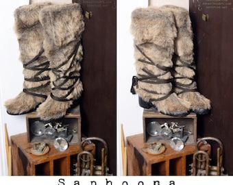 Vtg 60s 70s boho fur boots faux wolf coyote knee high mummy wrap coachella burning man club kid gum sole veggie vegan hippie festival Yeti