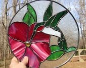 Stained Glass Panel, Hummingbird and Fushia Pink Flower