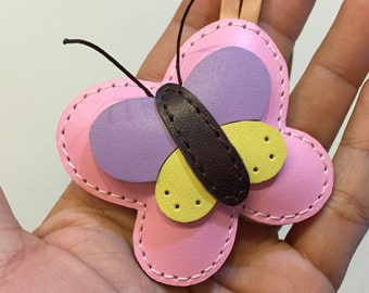 Leatherprince Butterfly leather keychain ( Baby Pink )