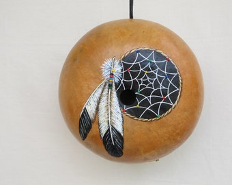 Dream Catcher hand painted gourd bird house