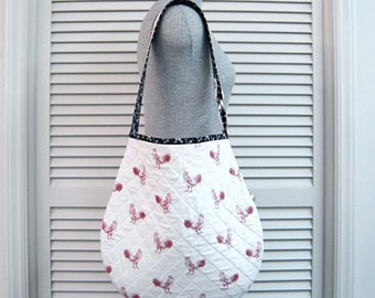SHOP CLOSING Sale-Country Chickens-Quilted-Hobo/Slouch/Shoulder/Tote Bag/Purse-Roomy Inside-Space for Tablet-Handmade-Original Pattern