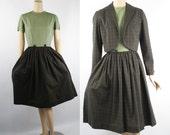 1960s Green Plaid Shirtwaist Dress with Bolero Jacket by Gay Gibson B36 W26