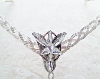 ON SALE Elven-Star (Evenstar) Celtic Weave Circlet Crown Tiara in silver.