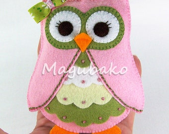 Owl Ornament - Hand Stitched - Wool Rayon Felt