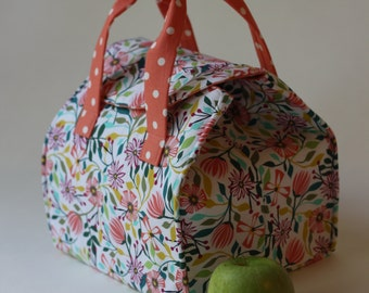 Bright Floral and Polka Dots - Insulated Lunch - Bento Box Carrier with Magnetic Snap - Ready to Ship