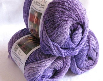 50% off - Boutique Midnight, Wool blend yarn,  purple PASSION worsted weight yarn with metallic sparkle