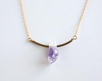 Amethyst Necklace - Bar Necklace - Raw Amethyst - Amethyst Jewelry - February Birthstone - Minimalist Necklace