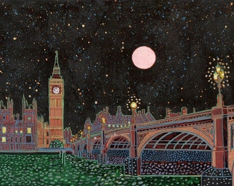 Westminster. A limited edition, numbered and signed A3 print from an Original Painting by Richard Friend