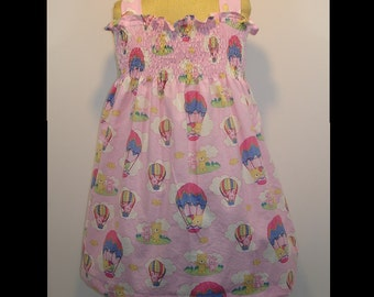 Toddler Girls Shirred Sundress Birthday Party Vacation Dress up Photos Gift Size 2 3 4 Pink Balloons Cruise WDW Halter Top