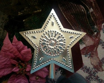 Christmas Tree Topper Silver Tin Punched Star 9 Inch Country Primitive Hand Cut By Larry West