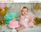 SALE Pink and Mint Baby Romper Headband Necklace SET, Pink and Mint Baby Lace Romper And Baby Headband, Baby Outfit, Baby Photo Prop