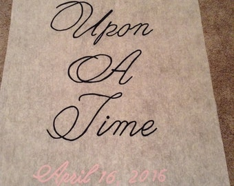 Once upon a time with date  Hand Painted Wedding Aisle Runner 50 foot long