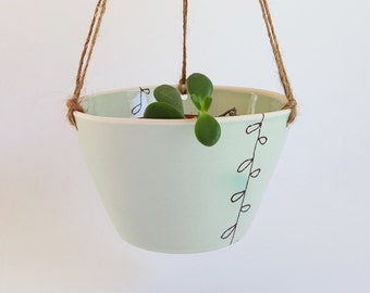 Hanging Planter, Made to Order, Ceramic Hanging Planter, Porcelain Hanging Planter, Hanging Succulent Planter, Handmade, Home Decor