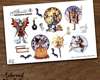 Amy Brown Halloween Autumn Fairy Witch Planner Stickers and Washi Tape Set