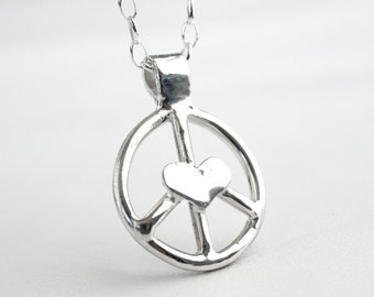Peace Sign Necklace Sterling Silver Cast Heart