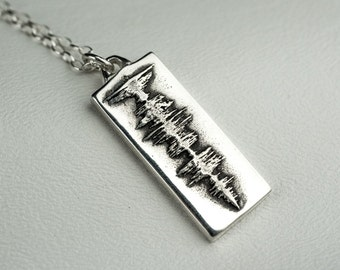 Soundwave Silver Necklace Custom Personalized Sound Wave Pendant