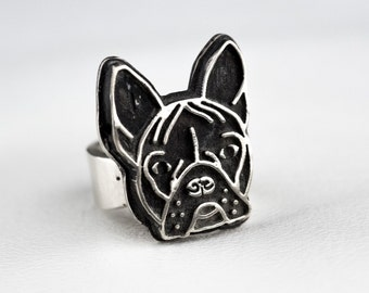 French Bulldog Ring Frenchie Silver Unique Ring