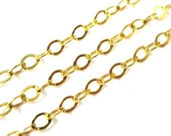 Gold Chain, Gold Plated Sterling Silver Chain,Unfinished Bulk,Flat Oval Cable Chain-2.5 by 2mm( Up to 30% off)-Jewelry Supplies-SKU:101022VM