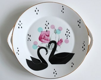 SECONDS SALE Very large cake/serving plate platter Black swans, dots and raindrops