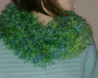 Crochet Eyelash Cowl in a Green and Blue