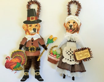 Golden Retriever THANKSGIVING PILGRIM ornaments Dog ornaments vintage style chenille ORNAMENTS set of 2