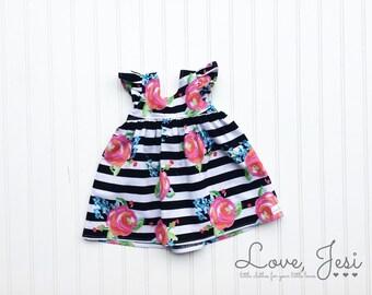 Little Girls Dress, Toddler Girl Dress, Girls Spring Dresses, Baby Girls Dress, Toddler Girls Dress, Black White Girls Dress, Bright Floral