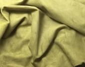 GOLDEN OLIVE GREEN Suede Lambskin Leather Hide Piece #5