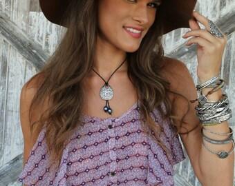 Boho Jewelry Necklace, Boho Necklace, Boho Leather Jewelry, Silver Boho Jewelry, Silver Boho Necklace, Bohemian Leather Boho Necklace