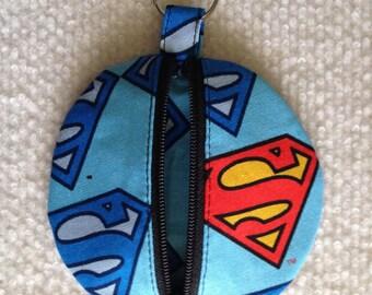 Circle earbud zippy zip pouch coin purse Superman print