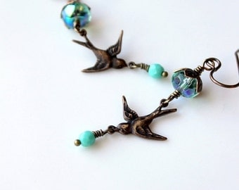 On SALE / CIJ Sale / Brass Bird Earrings / Dangling Swallow Earrings / Bras Song Bird / Turquoise Glass Beads / Swooping Swallows / Nature L