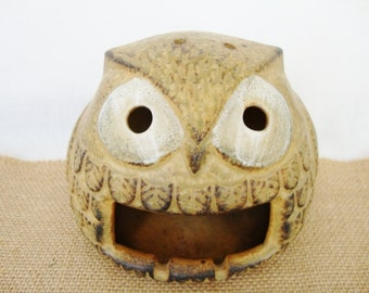 vintage owl pottery ashtray knobler japan patio ashtray candle holder