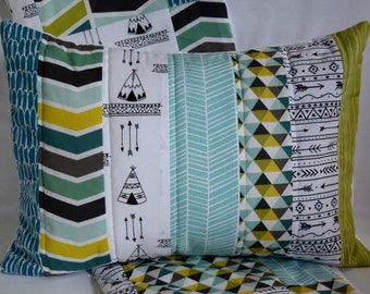 "Happy Camper Quilted Pillow Cover 12""x16"" - Arrows, Teepees, Woodland, Aztec Nursery, Playroom, Geometric, Blues, Greens"