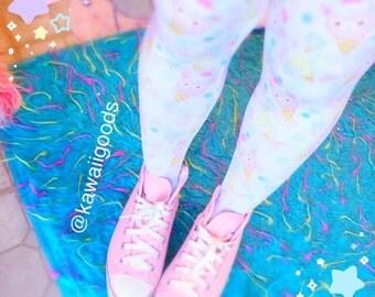 Alpaca Ice Cream Cone Leggings Tights, Alpaca Tights, Rainbow Tights, Cute Tights