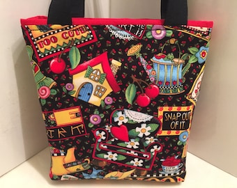 Happy Valentine's Day, Gift Tote Bag, Gift Wrap, Wrapping Paper, Birthday, Designer Fabric Treat Bag, Love Gift Bag, Tote for Sweets