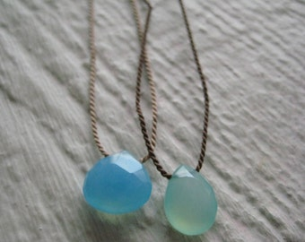Green Chalcedony & Silk Cord Necklace- Gemstone, Everyday Jewelry, Gold, Delicate