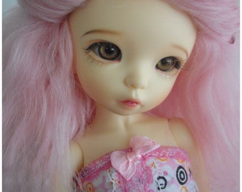 Pink tibetan mohair wig size 6/6,5 for unoa, narae, littlefee