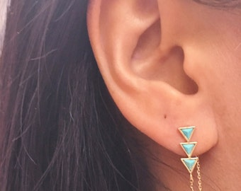 Turquoise Earrings, Turquoise Jewelry, Bar Chain Earrings, Turquoise Ear Jacket, Chevron Earring, Chevron Jewelry, Triangle Earrings