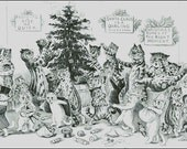 VINTAGE CHRISTMAS, CATS  cross stitch pattern No.810
