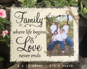 Family Picture Frame, Family Frame, Family, where life begins and love never ends, 8 x 10