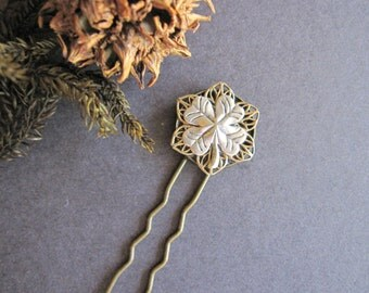 4 Leaf Clover, Hair Fork, Hair Stick, Woodland Inspired, Good Luck, Nature Inspired, St. Patrick's Day, Silver, Brass, Hair Pick, For Her