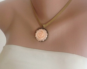 Sale -  Resin Rose Necklace , bridesmaids gifts,Antique Brass Necklaces, Vintage Inspired Bridal Jewelry,Rose Necklace ,Spring Wedding,blush