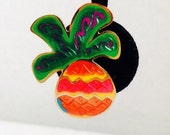 Vintage Tropical Pineapple Enamel Post Pierced Earrings, 1 1/4 inches long, Green, Purple, Red, Orange, Pink, Gold