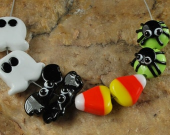 Lampwork Glass Beads, Halloween, Bats, Spiders, Bats, CandyCorn, Ghosts SRA #875 by CC Design
