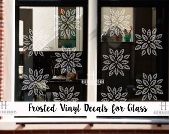 Frosted Vinyl decals, Flower Decals, TEN Floral Frosted vinyl decals, Glass Decals, Privacy Window Decals, Decorative Frosted Decals, lotus