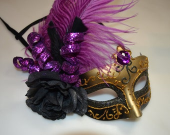 Purple, Gold and  Black Rose Ribbon Tied Venetian Mask