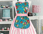 retro apron  Shabby Chic apron with RED ROSES floral with PINK stripe dress up style  women's full pretty rose print aprons shabby chic